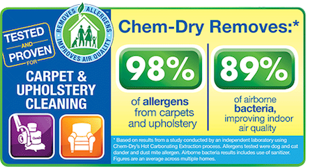 Chem-Dry of North County removes dirt, grime, and 98% of allergens from carpets and upholstery